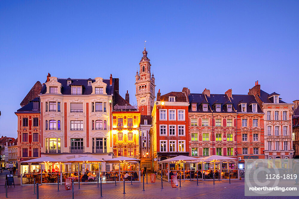The Grand Place and Lille Chamber of Commerce Belfry at Dusk, Lille, France,