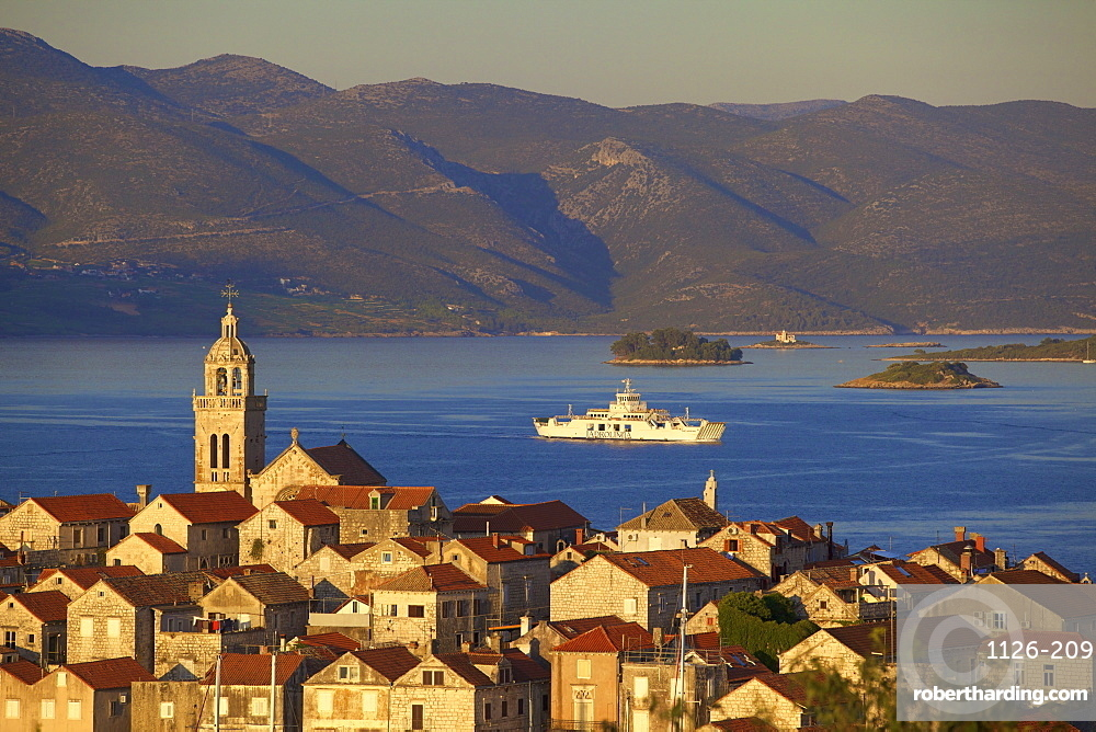View over Korcula Town, Korcula, Dalmatian Coast, Croatia, Europe,