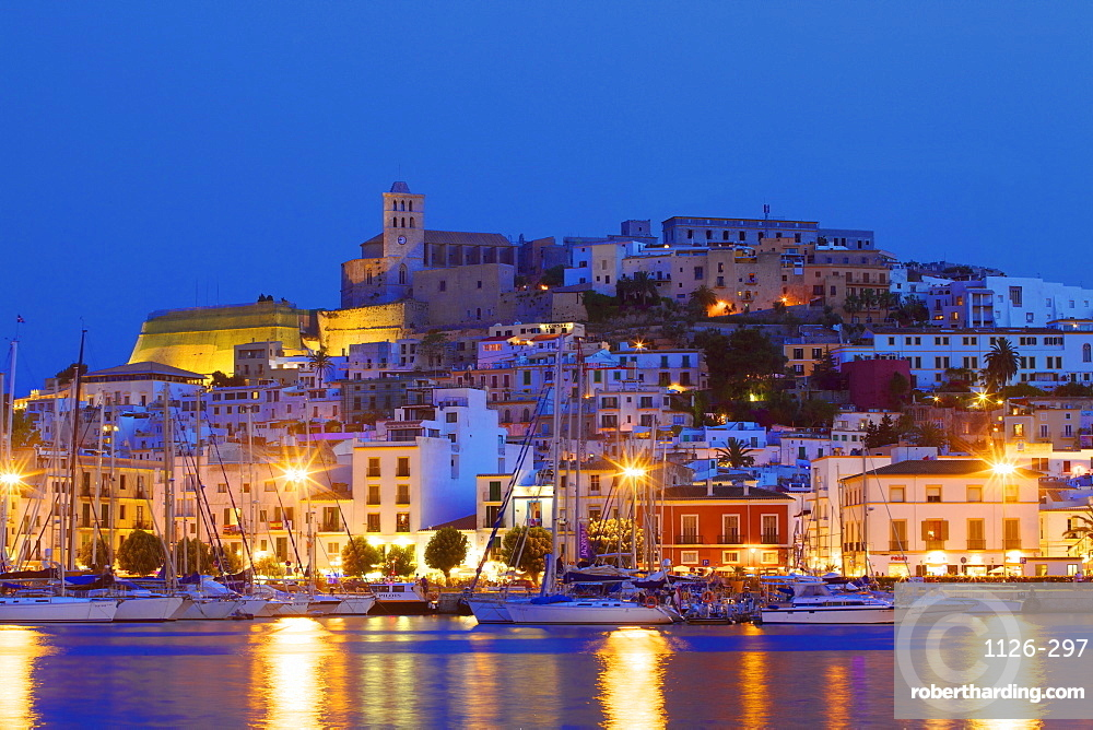 Ibiza Harbour at Night, Ibiza, Balearic Islands, Spain, Europe