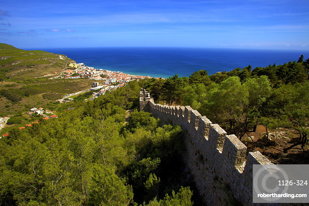 View over Sesimbra from Sesimbra Castle, Sesimbra, Portugal, South West Europe