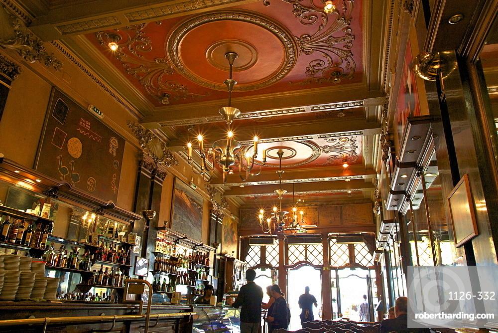 Interior of Cafe Brasileira, Chiado, Lisbon, Portugal, South West Europe
