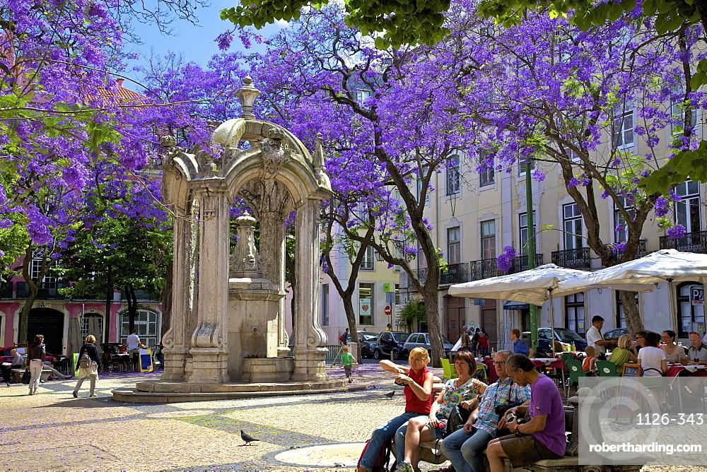 Carmo Square and Fountain, Lisbon, Portugal, Iberian Peninsula, South West Europe