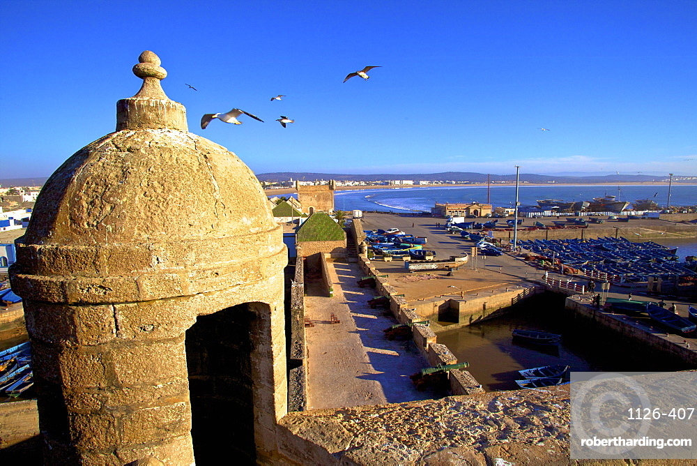 North Bastion view over Essaouira, Morocco, North Africa, Africa