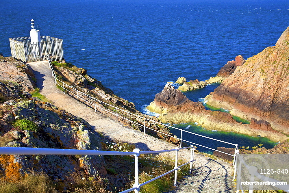Grosnez Lighthouse at Grosnez Point, Jersey, Channel Islands, Europe