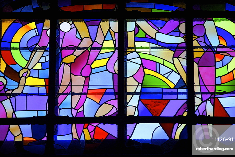 Stained glass window, Gellert Hotel and Spa, Budapest, Hungary, Europe