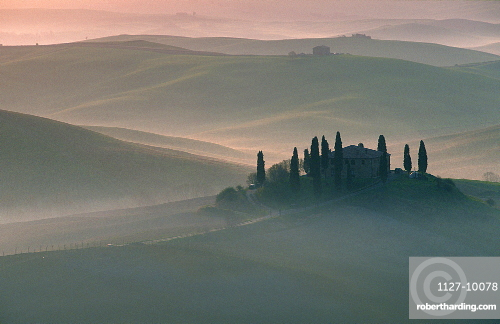 House on hill, Podere Belvedere, San Quirico, Tuscany, Italy