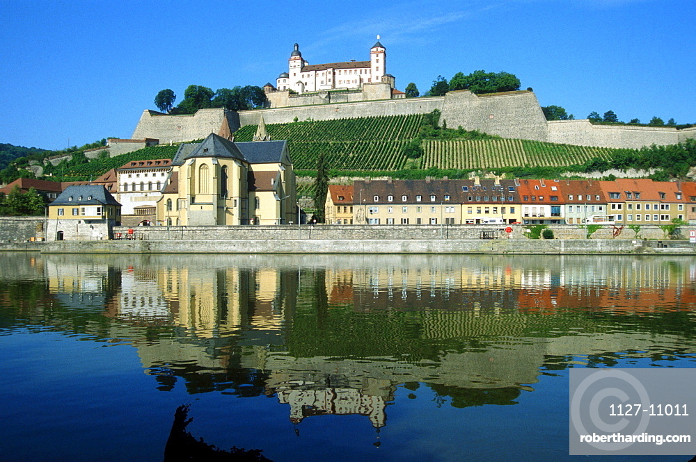 View over river Main to fortress Marienberg, Wurzburg, Bavaria, Germany