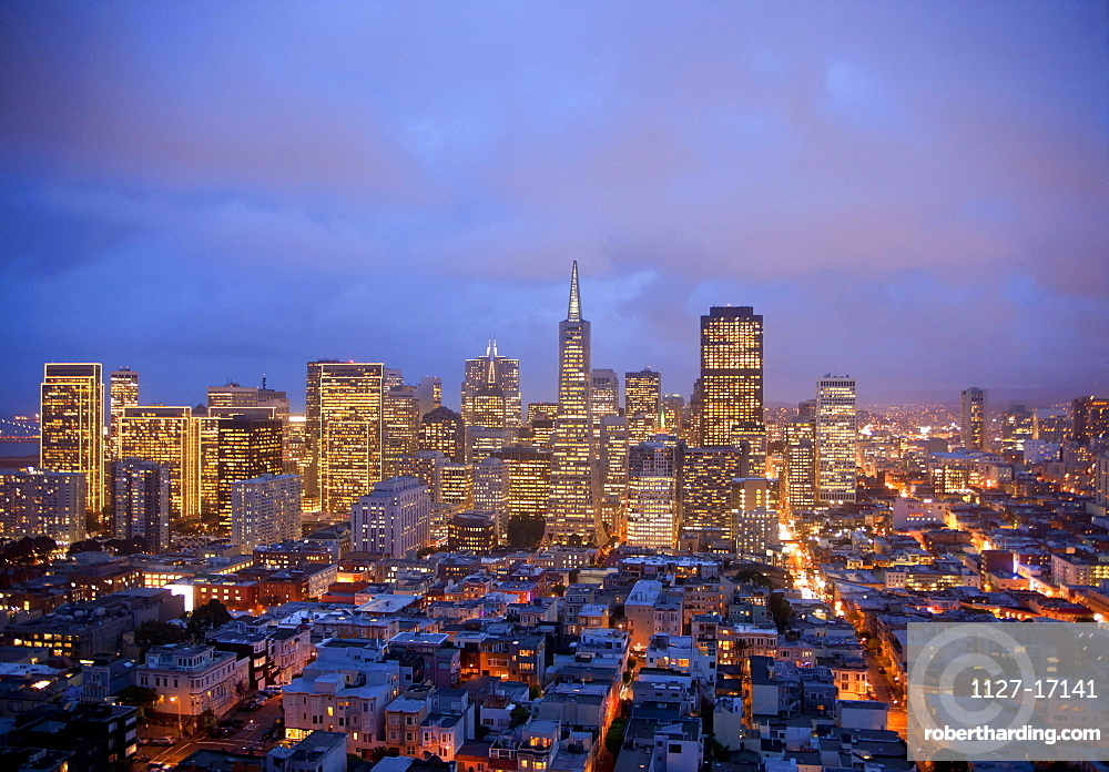 View from Coit Tower, Downtown San Francisco, California, USA