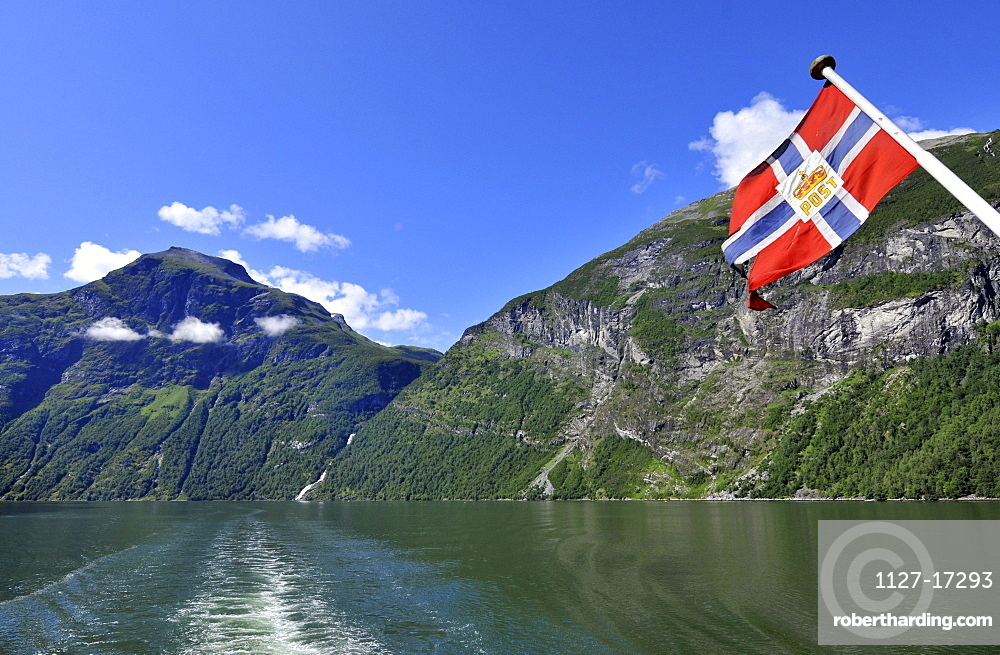 View from mailboat, packet ship, Geirangerfjord, Geiranger, Norway