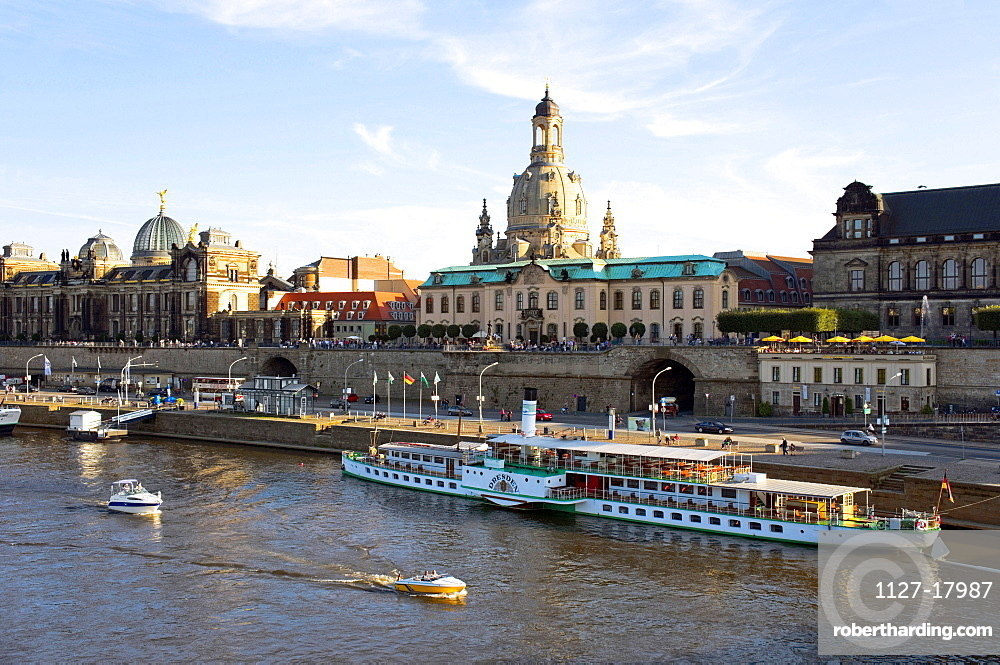 Dresden, Germany, with the Elbe River and old steam ships