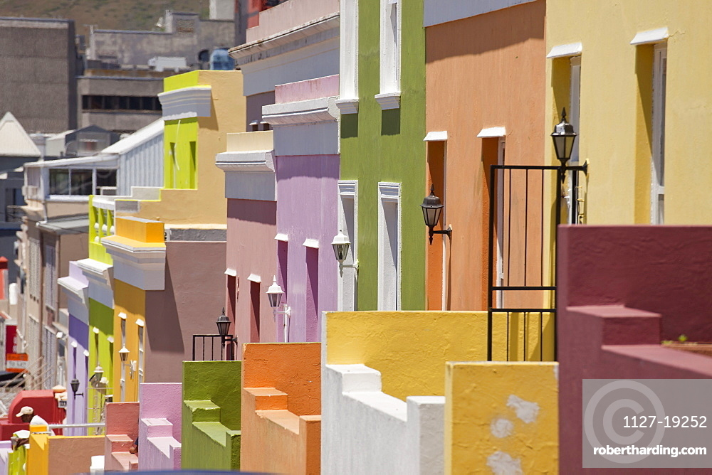 typical coloured homes, quarter Cape Malay Bo-Kaap, Cape Town, Western Cape, South Africa