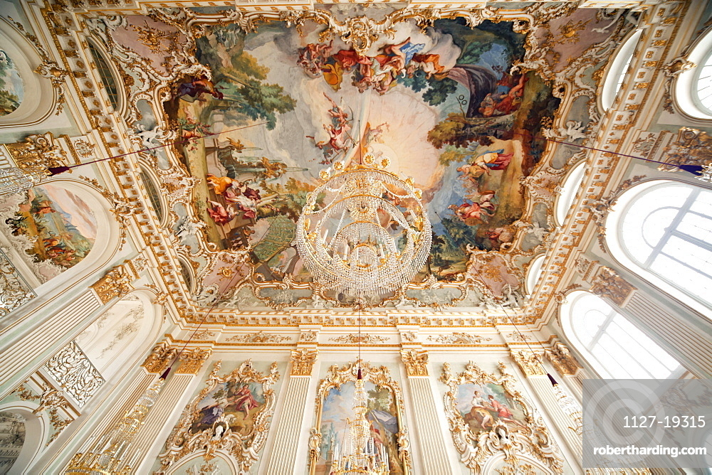 Ceiling fresco and chandelier, Nymphenburg Palace, Munich, Bavaria, Germany