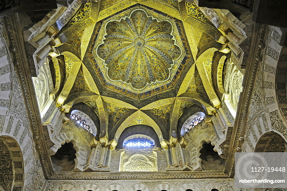 vaulted Ceiling, Arabic ornamentation in the Mirhab, Islamic prayer niche, Mezquita, Mosque, Cathedral, Cordoba, Province of Cordoba, Andalusia, Spain, Europe