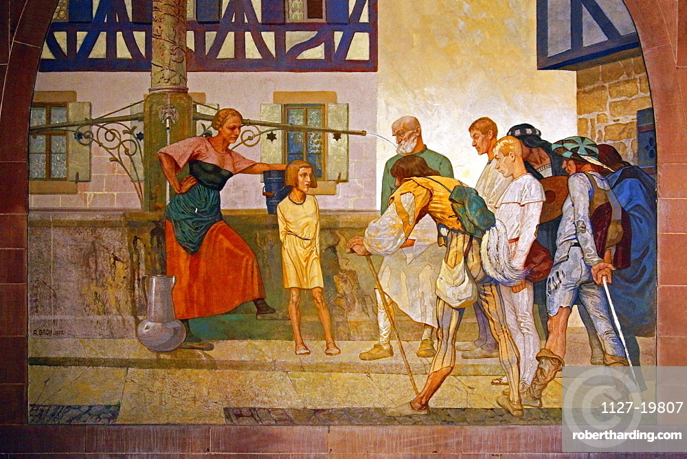 wall painting created by Prof. August Groh (1871-1944), Memorial Hall, Melanchthon House, Bretten, Kraichgau, district of Karlsruhe, Baden-Wurttemberg, Germany