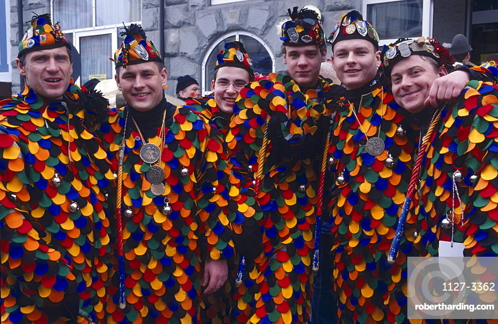 Men with carnival outfits, Stockach, Lake Constance, Baden-Wurttemberg, Germany