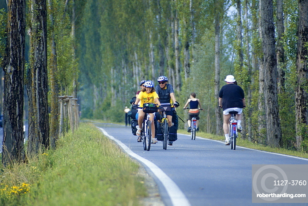 Bicyclists on street, Isle of Reichenau, Lake Constance, Baden-Wurttemberg, Germany