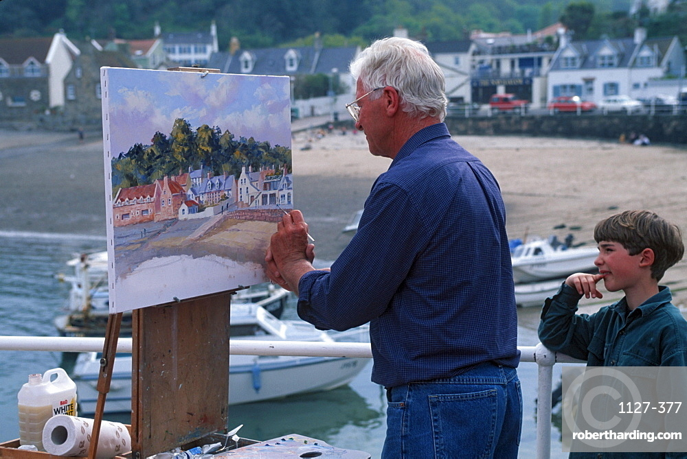 Painter and boy, Rozel harbour, Jersey, Channel Islands, Great Britain