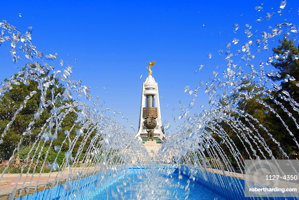 Fountain, in front of Arch of neutrality, Ashgabat, Turkmenistan