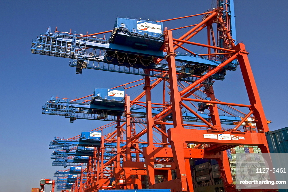 Cranes in harbour, container terminal Eurokai, harbour of Hamburg, Germany