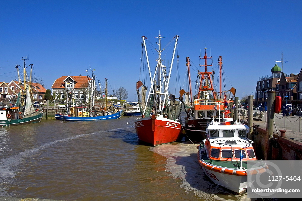 Shrimps cutter and fishing boats, harbour of Neuharlingersiel, Lower Saxony, Germany