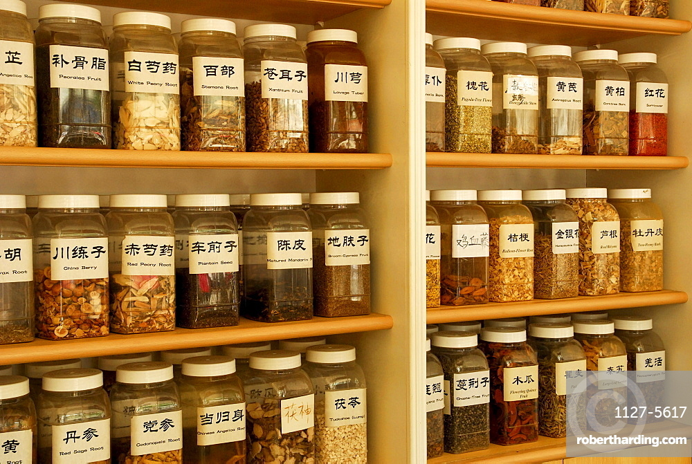 Chinese medicinal herbs in glasses, Chichester, West Sussex, England