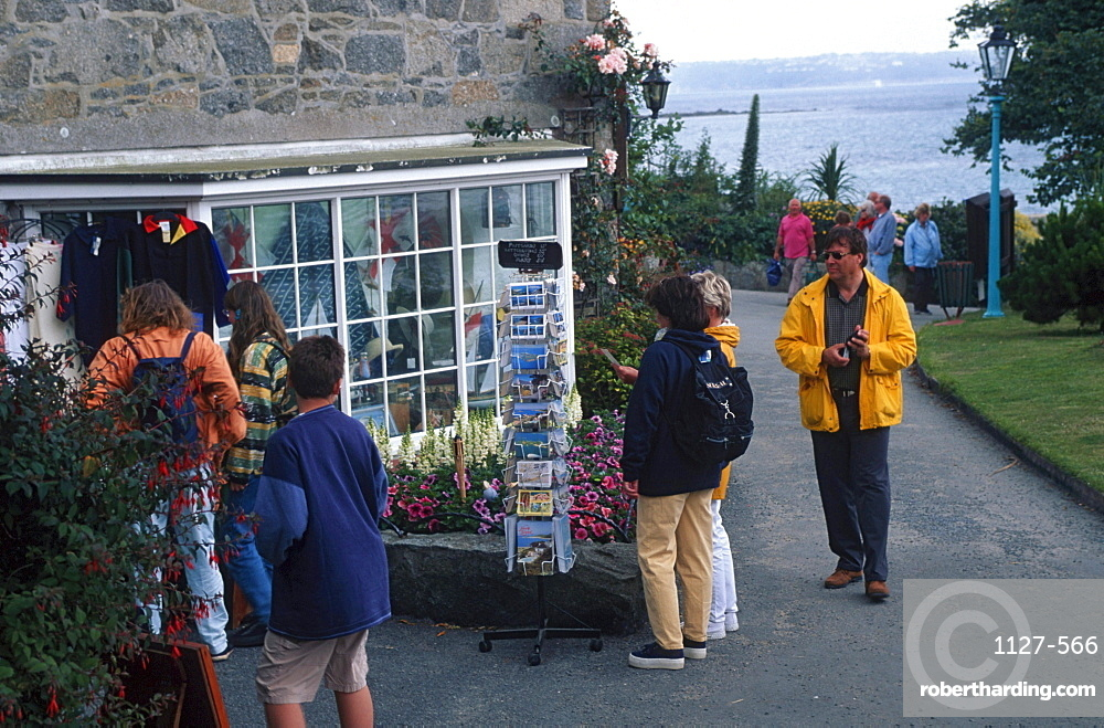 People at souvenir shop, Herm, Channel Islands, Great Britain