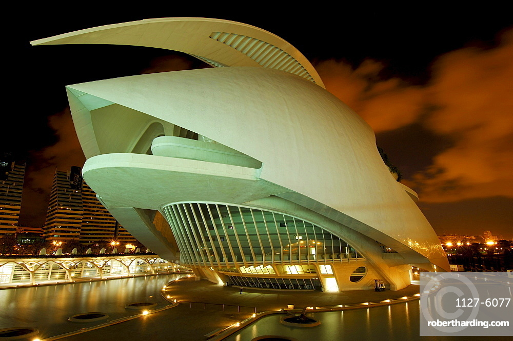 Opera Palau de les Arts Reina Sofia, Monteolivete Bridge, architect Santiago Calatrava, City of Arts and Sciences, Valencia, Spain