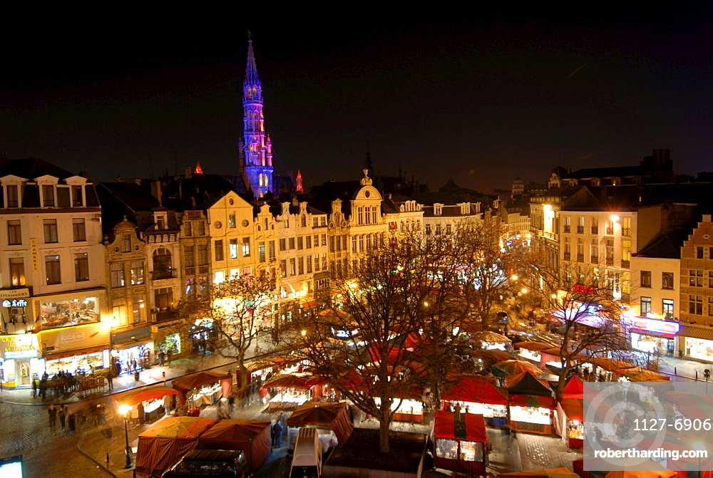 Christmas fair in the evening, Brussels, Brabant, Belgium