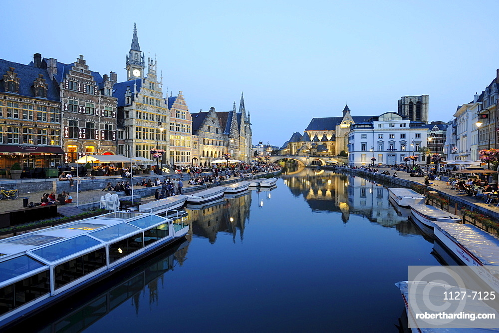 Old town of Ghent and river Leie, East Flanders, Belgium