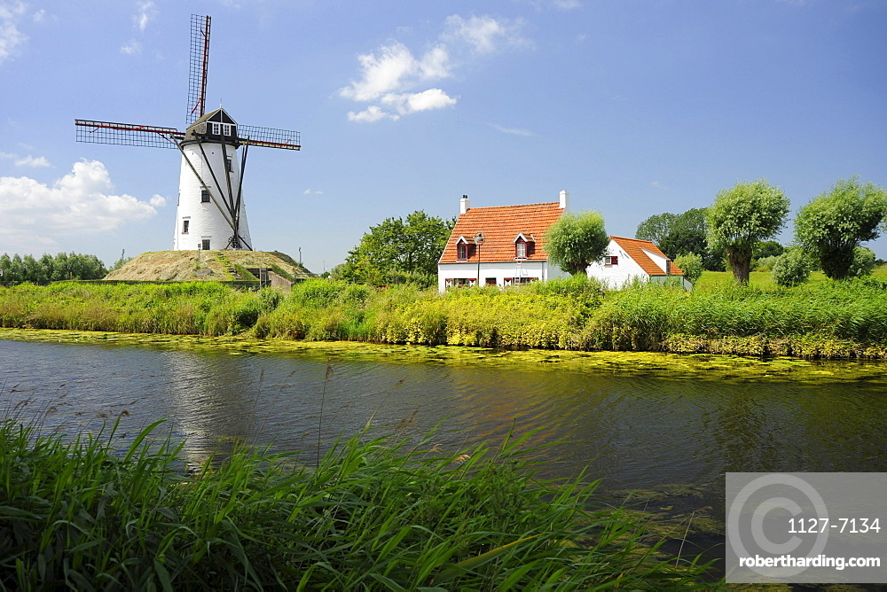 Windmill and canal, Damme, West-Flanders, Belgium