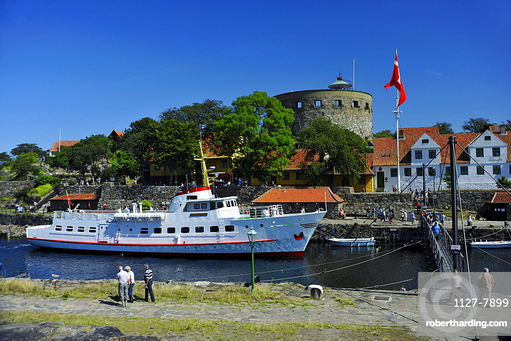 Big tower and ship, harbour, Christianso Island, Denmark