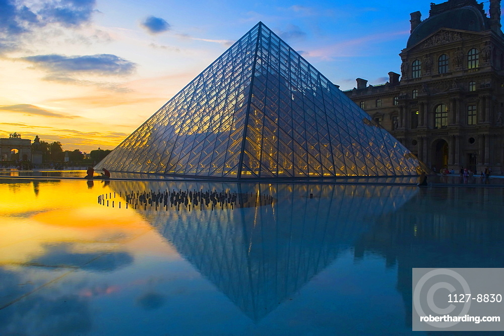 Pyramid of glass, at museum Louvre, Paris, France