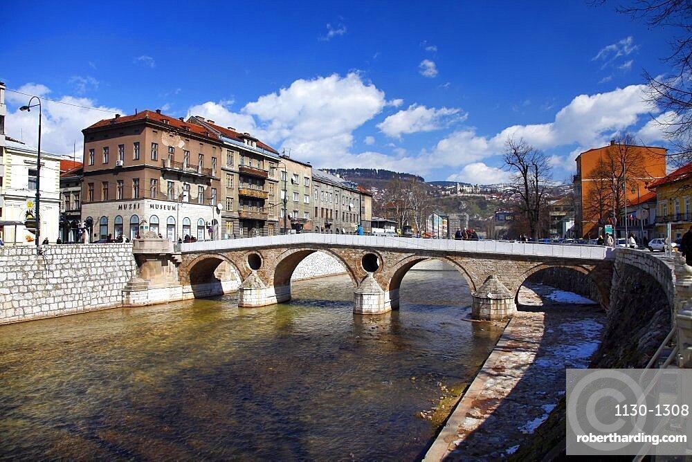 Miljacka River and Latin Bridge, Sarajevo, Bosnia And Herzegovina, Europe