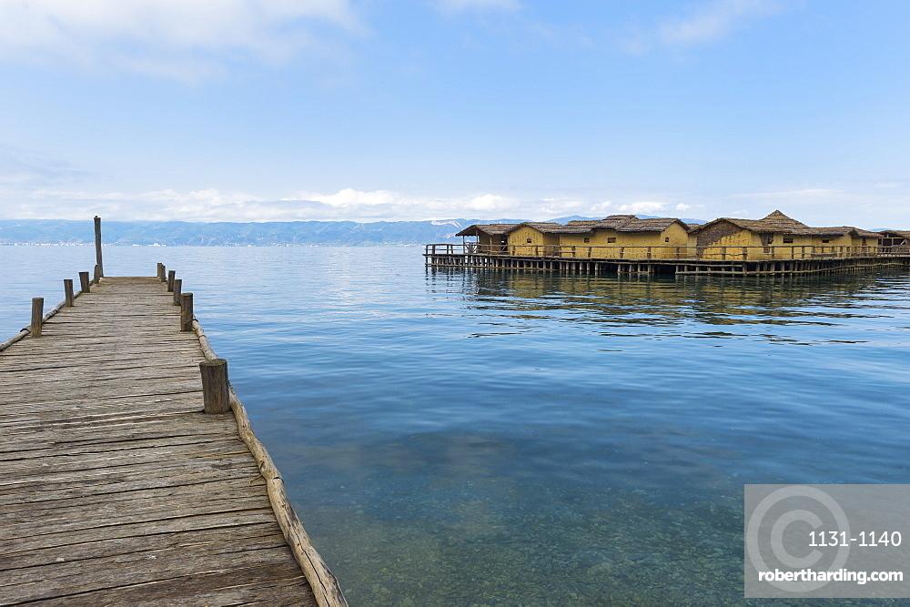 Lacustrine Bay of Bones Archaeologic museum built on a platform of 10000 wooden piles, Ohrid lake, UNESCO World Heritage Site, Macedonia, Europe