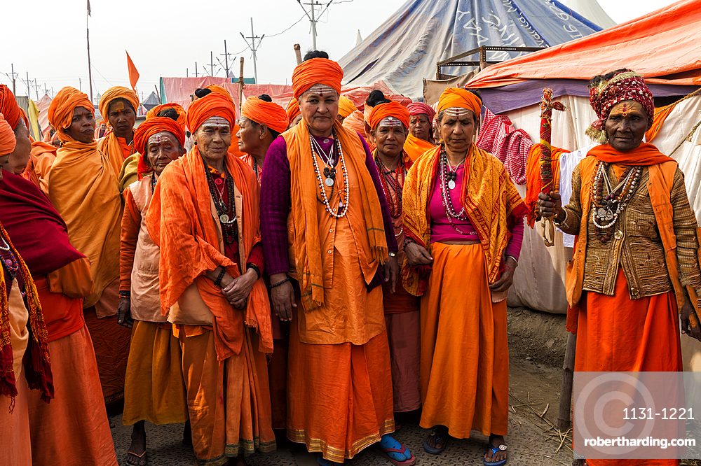 Sadhvi in orange red saree during Allahabad Kumbh Mela, World's largest religious gathering, Allahabad, Uttar Pradesh, India, Asia