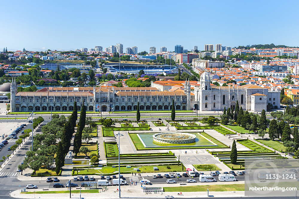 Aerial view of the Mosteiro dos Jeronimos (Monastery of the Hieronymites), UNESCO World Heritage Site, Belem, Lisbon, Portugal, Europe