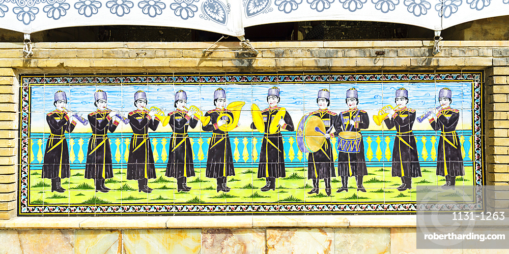 Golestan Palace, Shams al-Emareh, Ceramic Tiles representing a music band, Tehran, Islamic Republic of Iran, Middle East
