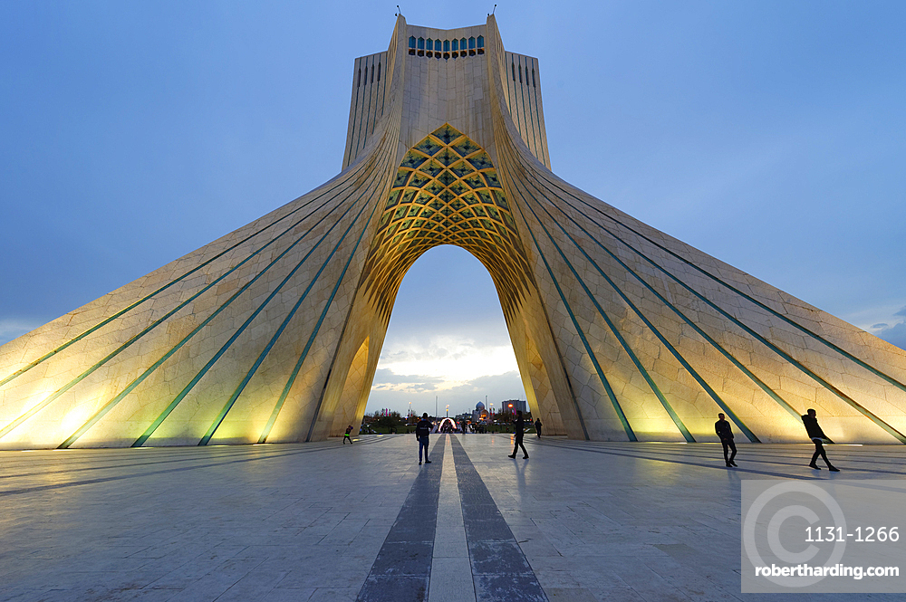 Azadi Tower (Freedom Monument) formerly known as Shahyad Tower and cultural complex at sunset, Tehran, Islamic Republic of Iran, Middle East