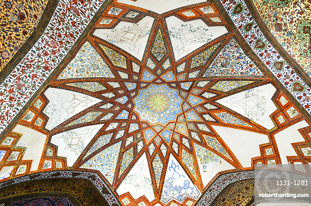 Fin Garden, Kushak pavilion, detail of the ceiling, UNESCO World Heritage Site, Kashan, Isfahan Province, Islamic Republic of Iran, Middle East