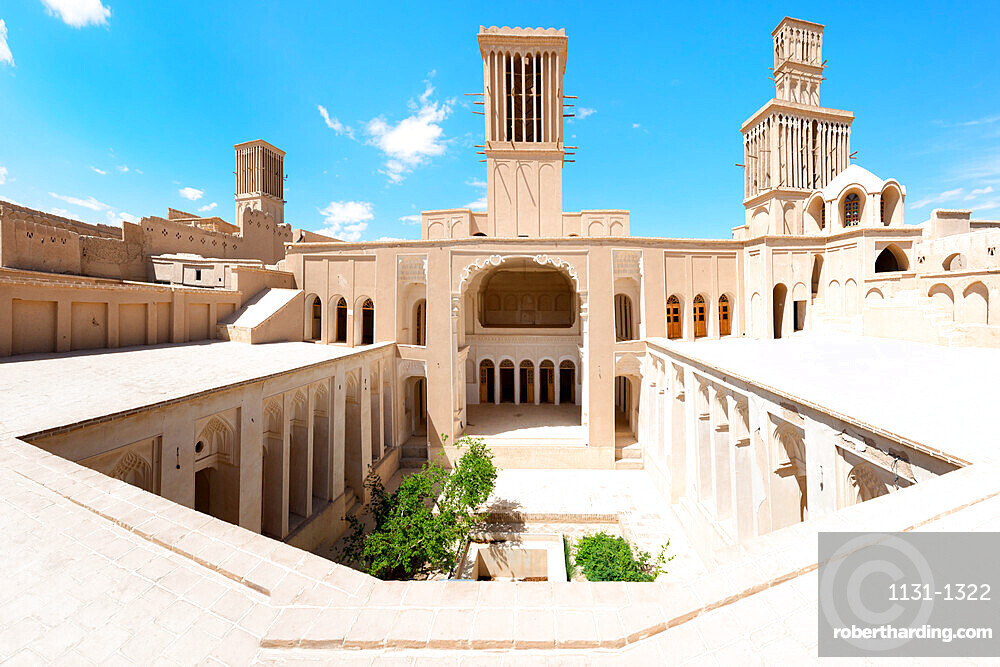 Aghazadeh Mansion courtyard and wind catcher, Abarkook, Yazd Province, Iran