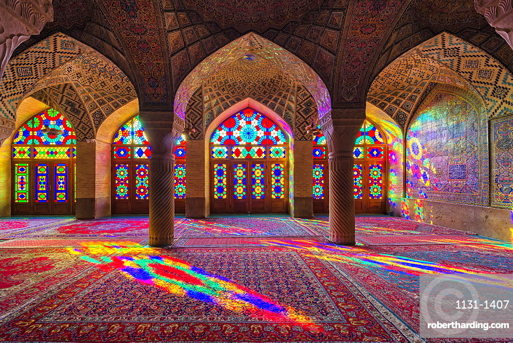 Nasir-ol-Molk Mosque, Pink Mosque, Light patterns from colored stained glass illuminating the iwan, Shiraz, Fars Province, Iran