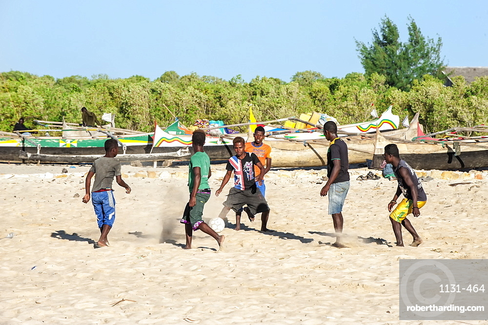 Malagasy boys playing football, Morondava, Toliara province, Madagascar, Africa