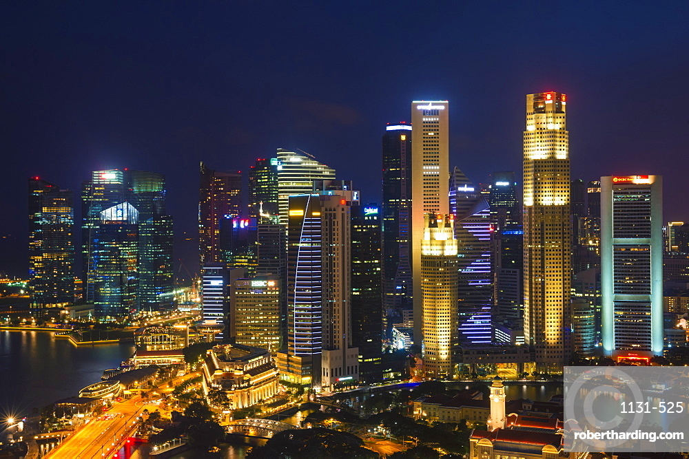 Downtown central financial district at night, Singapore, Southeast Asia, Asia