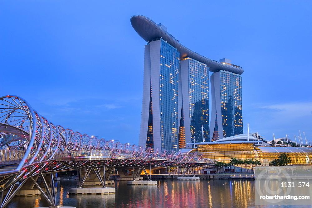 Marina Bay at night, Singapore, Southeast Asia, Asia