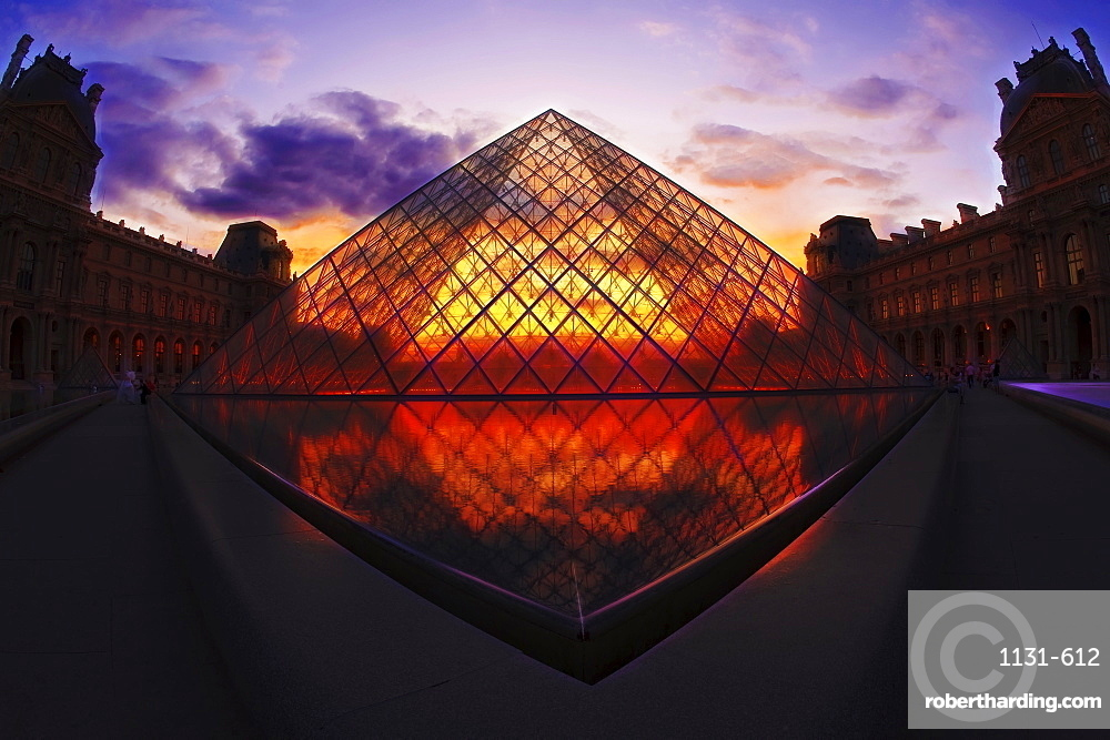Louvre Pyramide at sunset, Paris, France, Europe