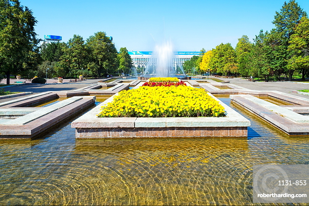 Republic Square Park, water spraying from fountain, Almaty, Kazakhstan, Central Asia, Asia