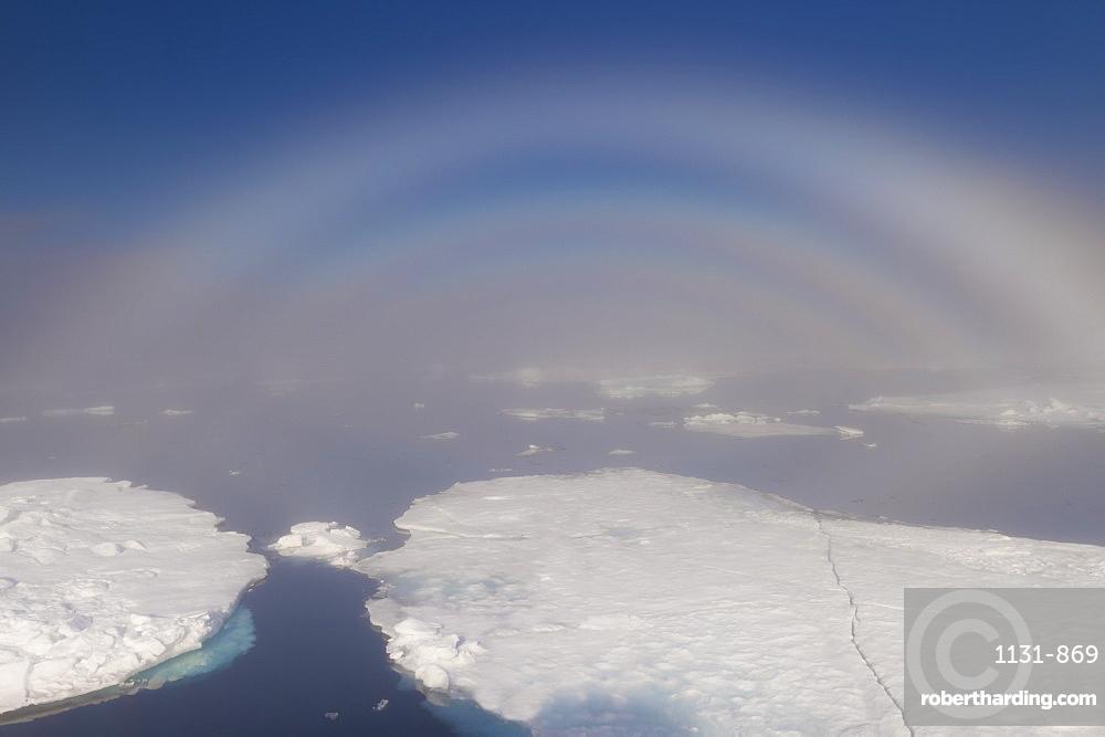 White rainbow over the ice, Arctic Ocean, Arctic, Norway, Scandinavia, Europe