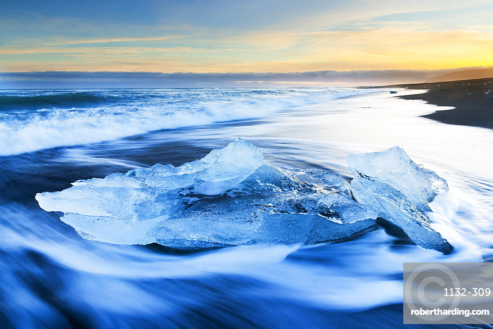 Iceberg on the Beach at Jokulsarlon, Iceland, Polar Regions