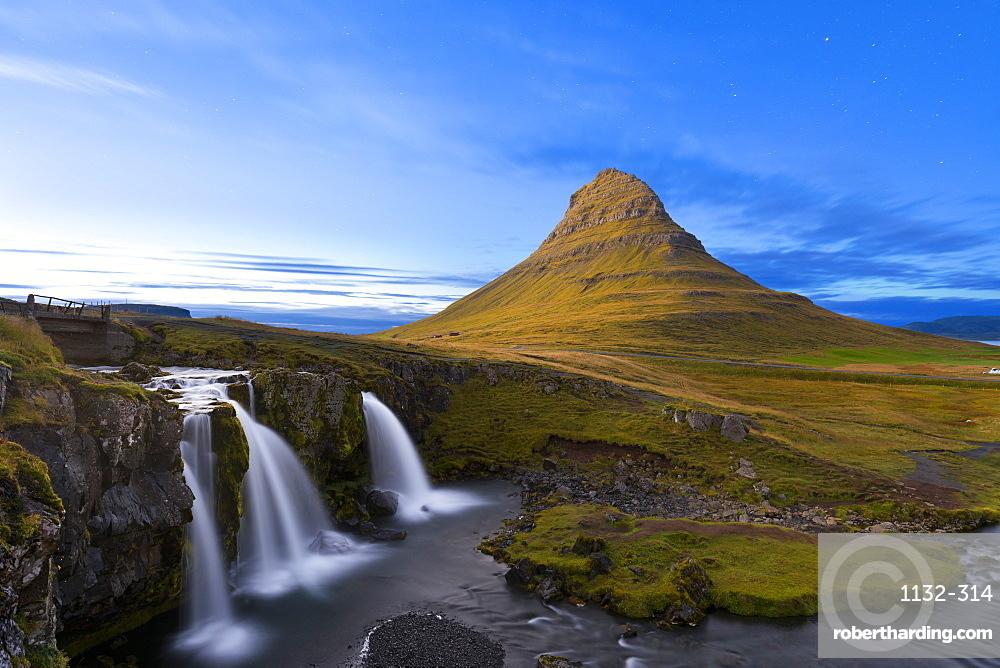 Kirkjufell Mountain and Kirkjufoss Waterfall at dusk, Snaefellsnes Peninsula, Iceland, Polar Regions