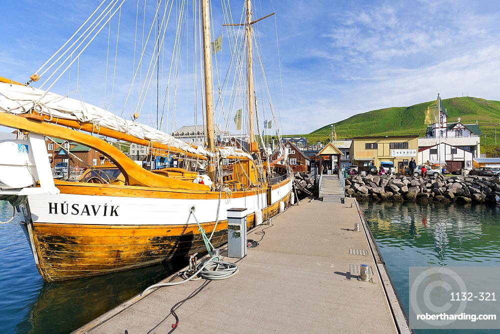 Historic boat in the Harbour, Husavik, Iceland, Polar Regions